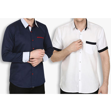 Pack of 2 Stylox Cotton Shirts_2733 - Navy & White