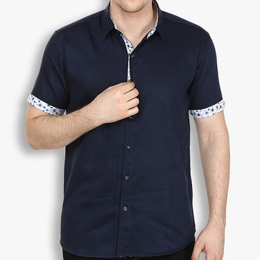 Pack of 2 Stylox Cotton Shirts_3031 - White & Navy