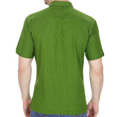 Fizzaro Plain Half Sleeves Stylish Shirt For Men_Fzls103 - Green