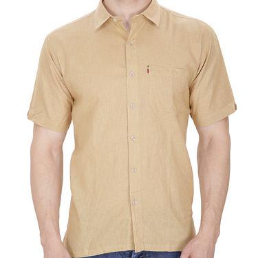 Fizzaro Plain Half Sleeves Stylish Shirt For Men_Fzls109 - Brown