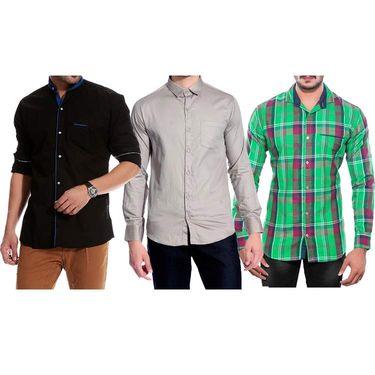 Pack of 3 Good Karma Cotton Premium Designer Shirts_Gkc003 - Mulitcolor