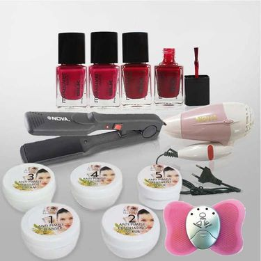 5pcs Anti Acne Kit with 1 Hair Dryer+Hair Straightener+1 Mini Butterfly Massager +2 Different Shade Nail Paint