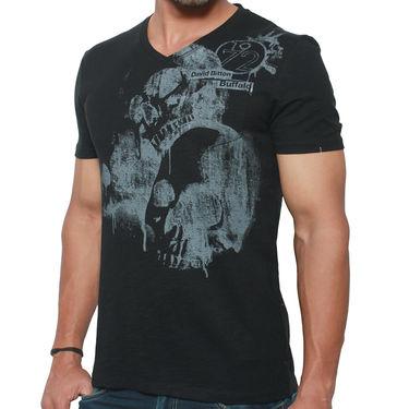 Buffalo Half Sleeves Printed Cotton Tshirt For Men_Bfb - Black