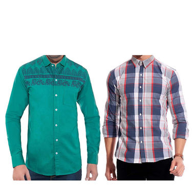 Pack of 2 Slim Fit Cotton Shirts For Men_A385010 - Multicolor