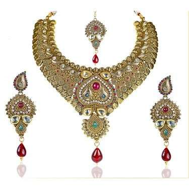 Kriaa Alloy Ethnic Necklace Set With Maang Tikka_2000114 - Multicolor