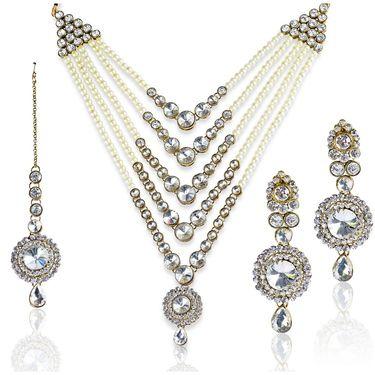 Kriaa Alloy Ethnic Necklace Set With Maang Tikka_2000101 - White