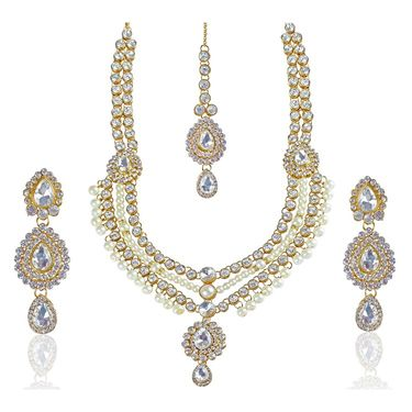 Kriaa Alloy Ethnic Necklace Set With Maang Tikka_2000111 - White