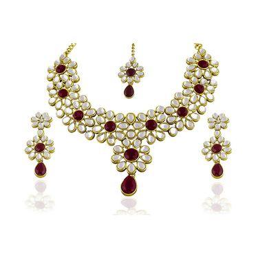 Kriaa Alloy Ethnic Necklace Set_2000310 - Maroon
