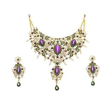 Kriaa Mithya Purple Kundan Austrian Stone Necklace Set_2000506