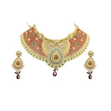 Kriaa Mithya Ethnic Design Austrian Diamond Stone Red Drop Necklace Set with Maang Tikka_2000517