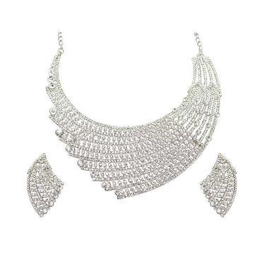 Kriaa Mithya Designer Rhodium Finish Austrian Diamond Stone Necklace Set_2000522