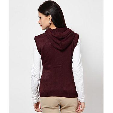 Yellow Tree Plain Wool Blend Maroon Full Sleeves Sweater_Yt15