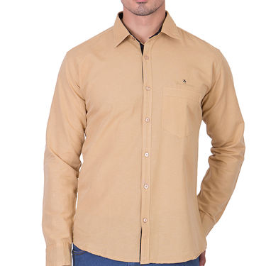Branded Full Sleeves Cotton Shirt_R12kylw - Brown
