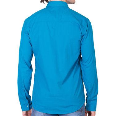 Branded Full Sleeves Cotton Shirt_R25kturq - Blue