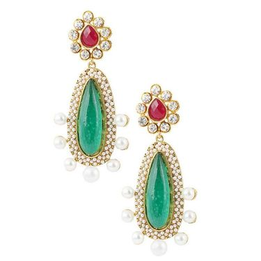 Kriaa Pearl Austrian Stone Earrings _1303705