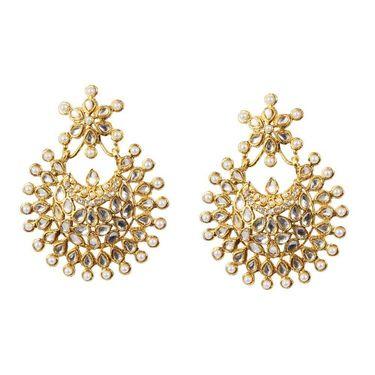 Kriaa Pearl Kundan Austrian Stone Earrings _1303757