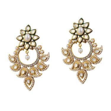 Kriaa Meenakari Kundan Pearl Austrian Stone Earrings _1303759