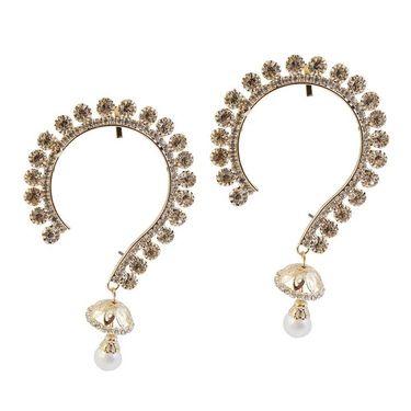 Kriaa Austrian Stone Pearl Drop Pair Ear Cuff _1303821