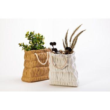 Tall ceramic basket set of 2 brown/white-1307-1154
