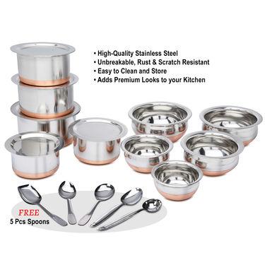 15 Pcs Copper Base Cook & Serving Set + Free 5 Pcs Kitchen Tool