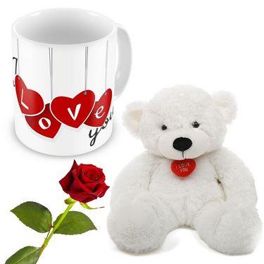 Lovely Hearts Printed Coffee Mug Rose n Teddy Gift 502