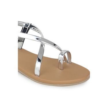 Do Bhai Faux Leather Flats 205-Silver