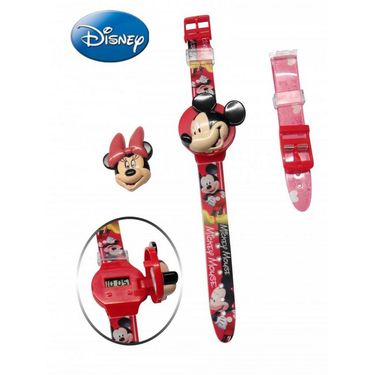 Disney Mickey & Minnie Watch - with Internchangeable Strap and Flip-Top Covers