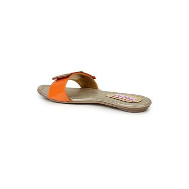Do Bhai Faux Leather Flats 3 Stone-Orange