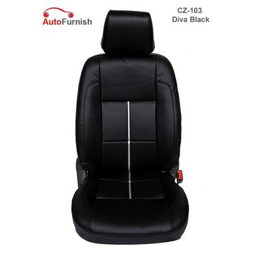 Autofurnish (CZ-103 Diva Black) Honda Jazz Leatherite Car Seat Covers-3001544