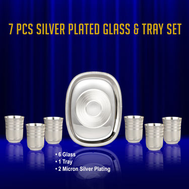 7 Pcs Silver Plated Glass & Tray Set