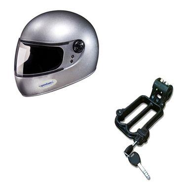 Speedwav Full Face Bike Riding Helmet-SILVER+Helmet-Lock-78571