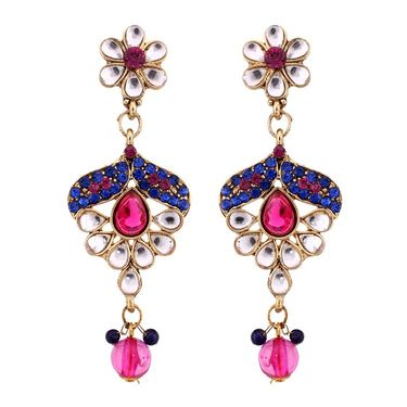 Vendee Fashion Austrain Diamond Kundan Set - Blue & Pink _ 8438