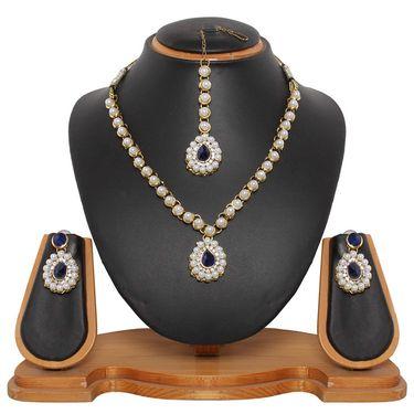 Vendee Fashion Beautiful Kundan Necklace Set - Royal Blue _ 8443