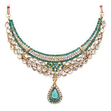 Vendee Fashion Kundan Necklace Set - Rama Green _ 8467