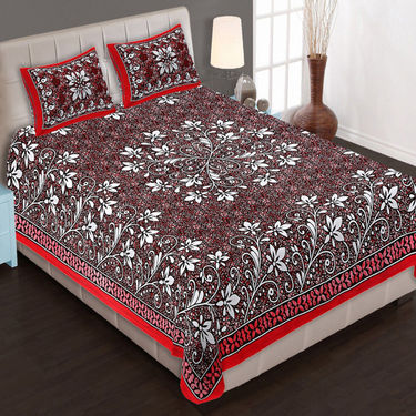 Set of 4 Traditional Jaipuri Print 100% Cotton Ethnic Double Bed sheets With 8 Pillow Covers -PF103DWP4B