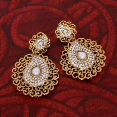 Vendee Fashion Kundan Dangler Earrings - White & Golden _ 8537