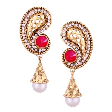 Vendee Fashion Austrian Daimond Carving Earrings - Golden & Pink _ 8538A