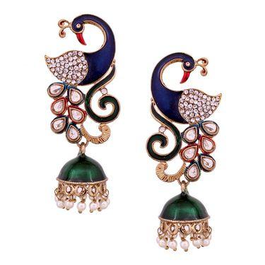 Vendee Fashion Peacock Kundan Jhumkhi - Multicolour _ 8539