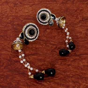 Vendee Fashion Attractive Long Drop Beads Earrings - Black & Golden _ 8543