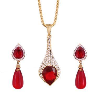 Vendee Fashion Kundan Studded Pendant Set - Red _ 8551