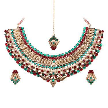 Vendee Fashion Kundan Ancient Design Necklace Set - Maroon & Green _ 8609