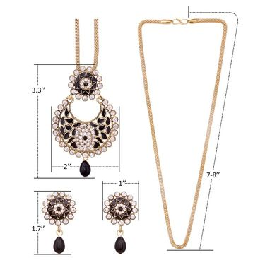 Vendee Fashion Stylish Pendant Set - Black