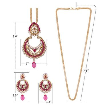 Vendee Fashion Stylish Pendant Set - Pink