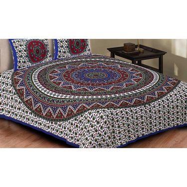 Set of 8 King Size Cotton Jaipuri Sanganeri Printed Bedsheets With 16 Pillow Covers-X108C7