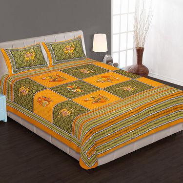 Set of 4 Cotton King Size Jaipuri Sanganeri Printed Bedsheets With 8 Pillow Covers-90x108B4C8