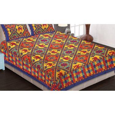 Set of 6 King Size Cotton Jaipuri Sanganeri Printed Bedsheets With 12 Pillow Covers-B6C1