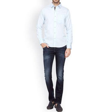 Crosscreek Full Sleeves Cotton Casual Shirt_317 - Blue