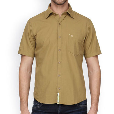 Crosscreek Half Sleeves Cotton Casual Shirt_325 - Beige