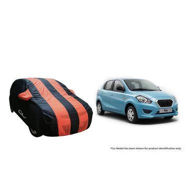 Autofurnish Stylish Orange Stripe Car Body Cover For Datsun Go  -AF21142