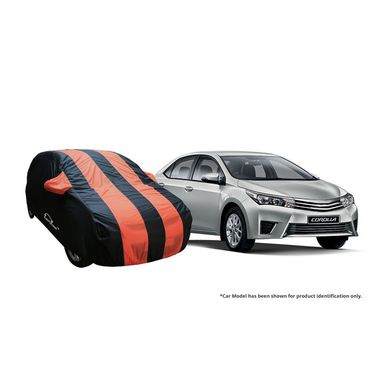 Autofurnish Stylish Orange Stripe Car Body Cover For Toyota Etios  -AF21236
